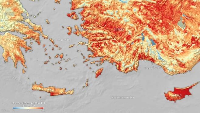 센티넬 위성이 지난 2일 촬영한 지중해의 모습. 사진=ESA