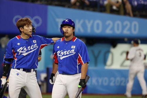 한국 야구대표팀의 이정후(왼쪽)와 강백호. 요코하마=김지훈 기자