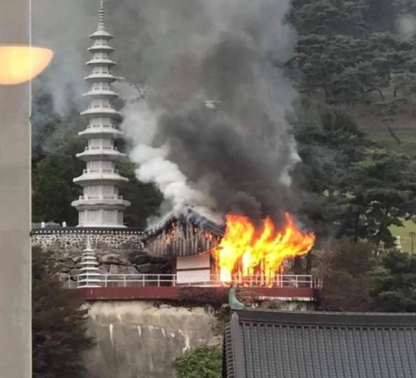 남양주시 소재 수진사에서 지난 2019년 10월 12일 화재가 난 모습./사진제공=남양주소방서