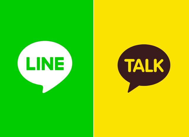 네이버와 카카오를 대표하는 메신저 라인과 카카오톡 로고. 각 사 제공
