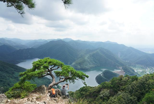 운암산 정상 부근 두 번째 '명품 소나무' 아래로 대아저수지와 일대 산줄기가 시원하게 내려다보인다.