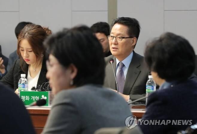지난 2018년 1월 국회 의원회관에서 열린 국민의당지키기운동본부 전체회의에 당시 박 의원과 조성은 전 국민의당 비대위원이 참석하고 있다. 연합뉴스