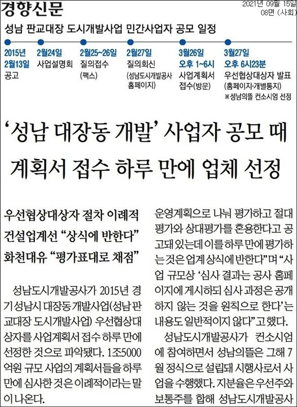 ▲ 경향신문 15일자 8면.