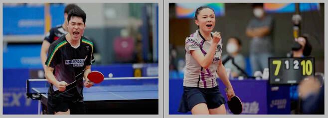한국 탁구 대표팀 남녀 에이스 장우진(왼쪽)과 전지희. 대한탁구협회