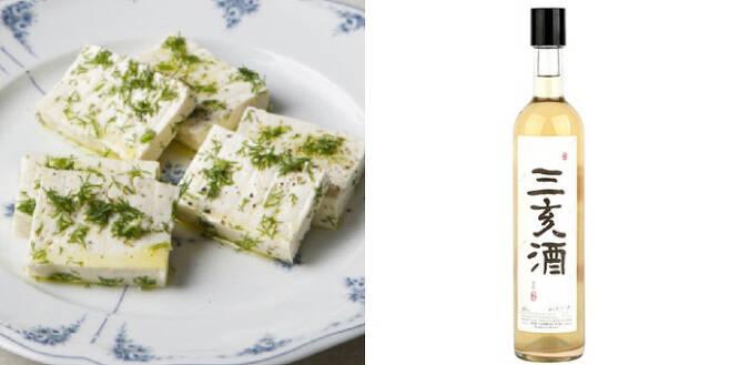 요리 연구가 나카가와 히데코 추천, 두부 레몬 마리네이드와 전통주 삼해주. 사진 <히데코의 연희동 요리교실> 이봄출판사