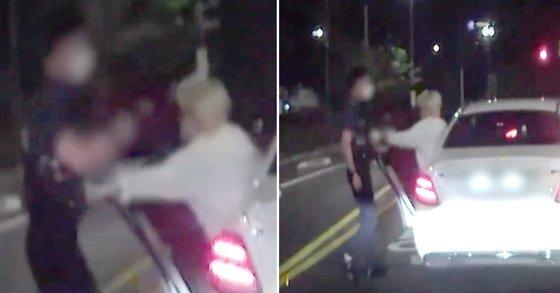 장제원 국민의힘 의원 아들인 래퍼 장용준씨가 음주 측정을 요구한 경찰관을 밀치는 등의 폭행 순간을 담은 블랙박스 영상이 공개됐다. SBS 캡처
