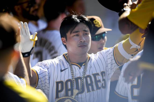 김하성의 홈런 세리머니. AFP연합뉴스