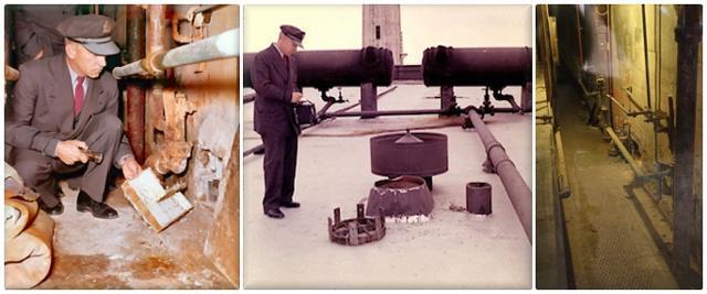 앨커트래즈 교도소 간수가 구멍이 뚫린 감방 벽(왼쪽 사진)과 수감자들의 탈출 통로인 옥상 환풍구(가운데 사진)를 살피고 있다. 오른쪽 사진은 감방 뒷면에 위치한 설비 통로. 앨커트래즈역사 홈페이지
