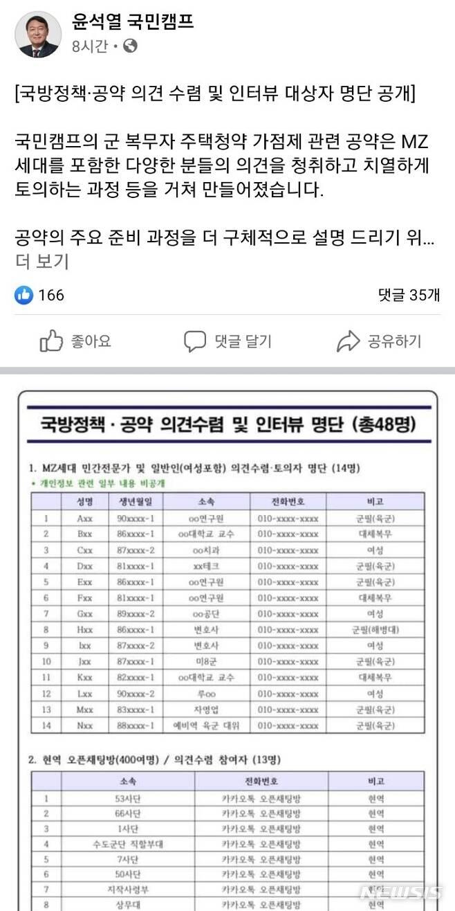 [서울=뉴시스]윤석열 국민캠프 페이스북페이지 캡처
