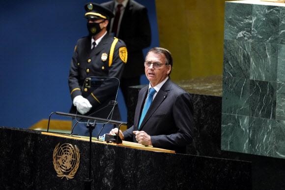UN총회 연설을 하는 자이르 보우소나루 브라질 대통령. AP