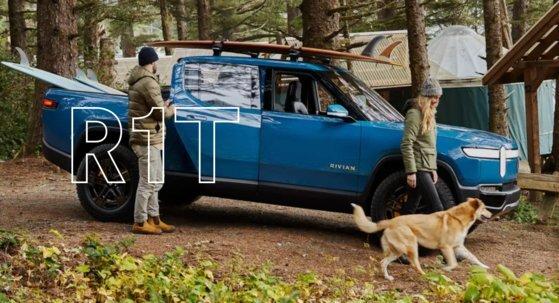 미국 전기차 기업 리비안이 지난달 출시한 전기 픽업트럭 R1T. 미국 시장에 발표한 첫 전기 픽업트럭 모델이다. 사진 리비안