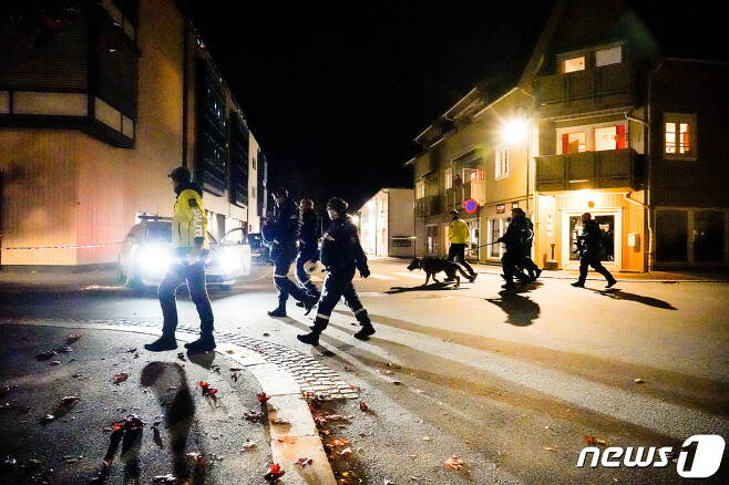 13일(현지시간) 오후 노르웨이 콩스베르그에서 '묻지마 화살 테러'가 발생했다. 2021.10.13© 로이터=뉴스1