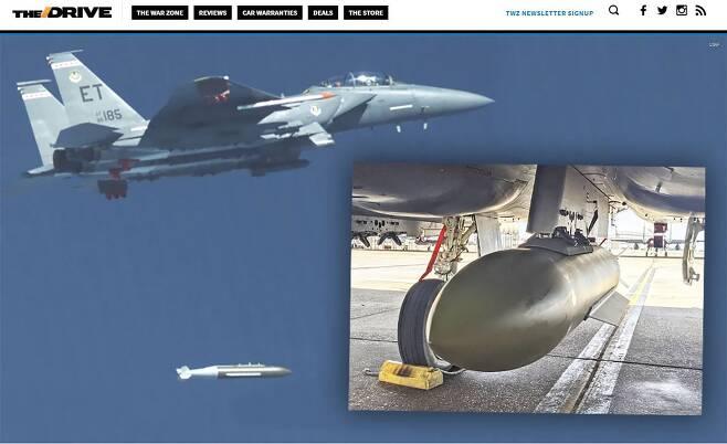 미국 플로리다주의 에글린 공군기지는 지난 7일 F-15E 전투기가 GBU-72 첨단 관통탄을 상공에서 투하했다고 밝혔다. 사진은 전투기에서 폭탄을 투하하는 모습. /더드라이브 캡처