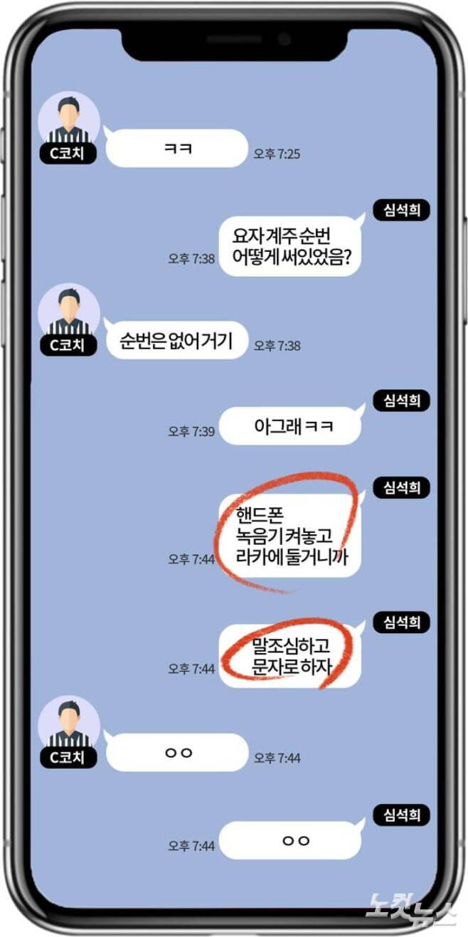 심석희 선수와 C코치의 메신저 대화 재구성