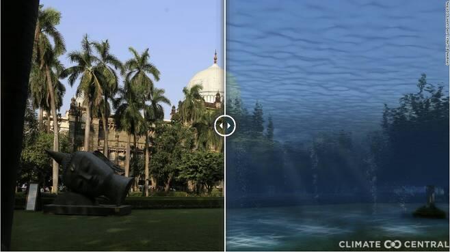 기온 3도 상승시 인도 뭄바이의 모습 - 비영리 연구단체인 클라이밋 센트럴은 미국 프린스턴 대학과 독일 포츠담 기후영향연구소 연구원들과 함께 분석을 진행한 결과 연안에 있는 전 세계 약 50개 도시가 침수 피해를 입는다는 결론을 내렸다. 사진은 기온 3도 상승시 인도 뭄바이의 모습을 시뮬레이션한 이미지.클라이밋 센트럴