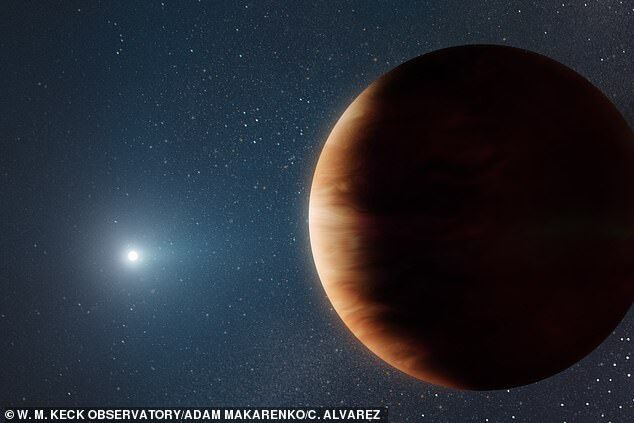 우리은하의 한 백색왜성 주위를 도는 목성 크기의 가스행성 이미지.(사진=W.M 켁 천문대)